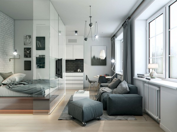 This 32 square meter (344 square foot) apartment uses interior glass walls to create a bedroom that doesn't make the home feel any smaller.