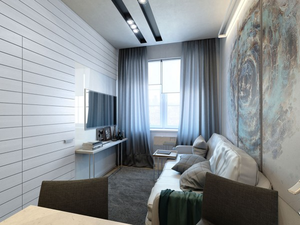 The third apartment measures 35 square meters (375 square feet) and tackles a different floorplan with the same panache.