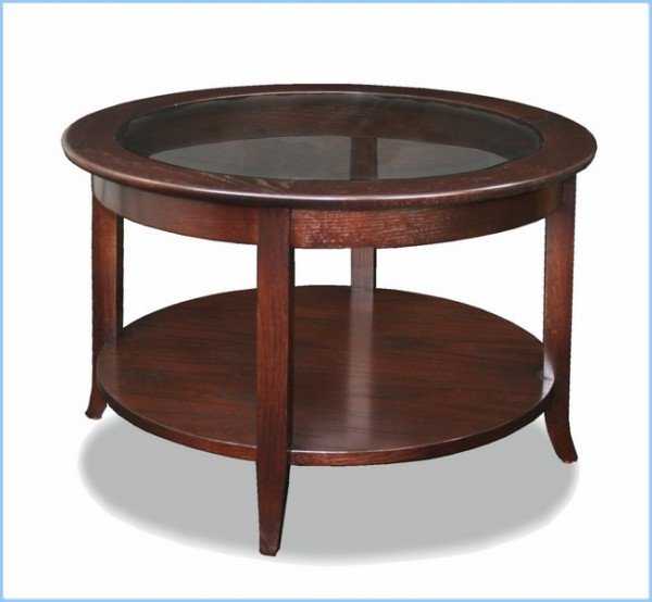: Solid Wood Round Glass Top Coffee Table