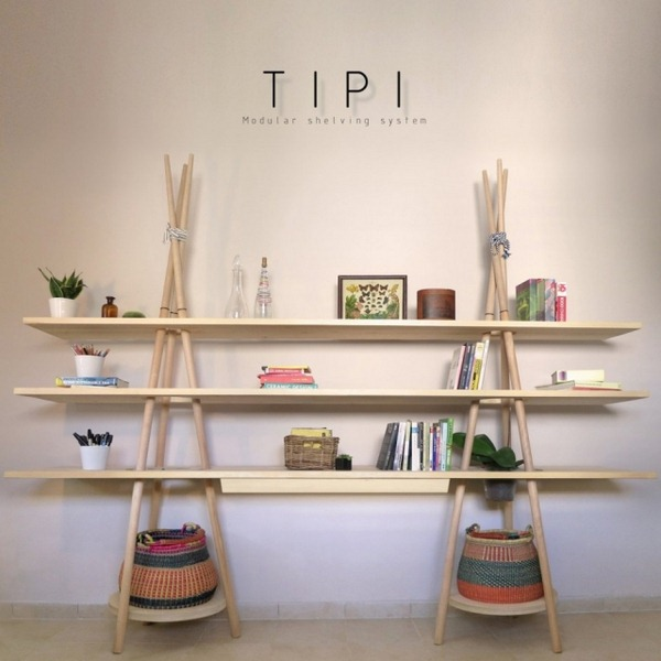 Solid wood shelving Tipi Modular wall boards basketry Desk