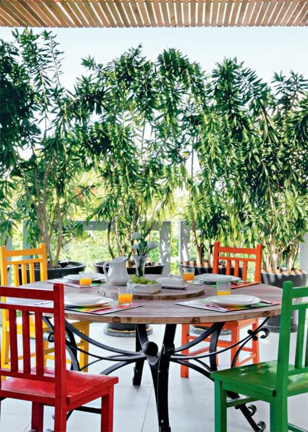 terrace balcony design modern furniture chairs colorful round wooden table