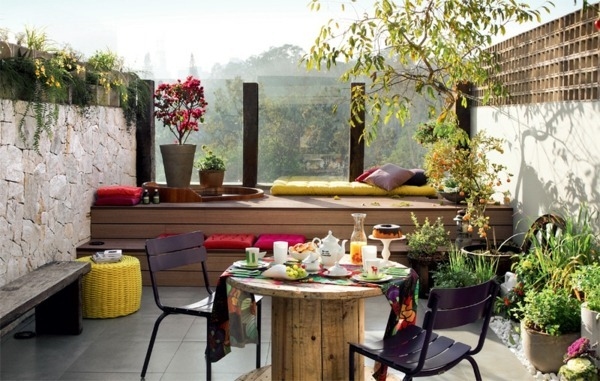 terrace balcony plant design modern lounge furniture build yourself