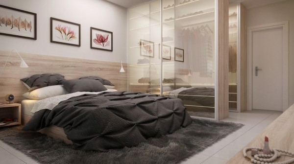 This lovely bedroom has elements of indulgence - including a touchably textured duvet and barefoot-friendly rug - but still manages an overall feeling of zen.