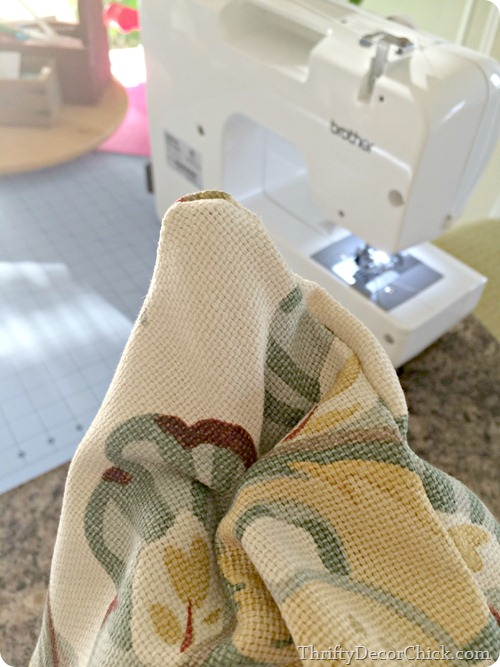 sewing a pillow
