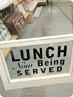 lunch being served sign