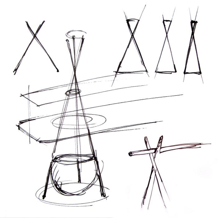 croquis design - TIPI l'étagère bureau par Assaf Israel