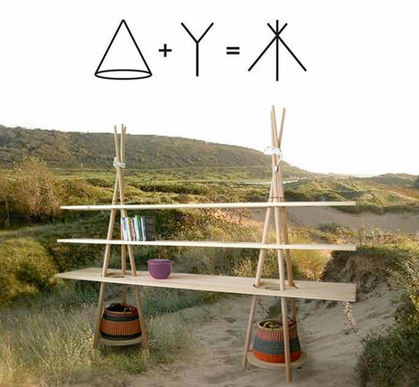 tipi shelving solid wood modular construction inspired by nomad