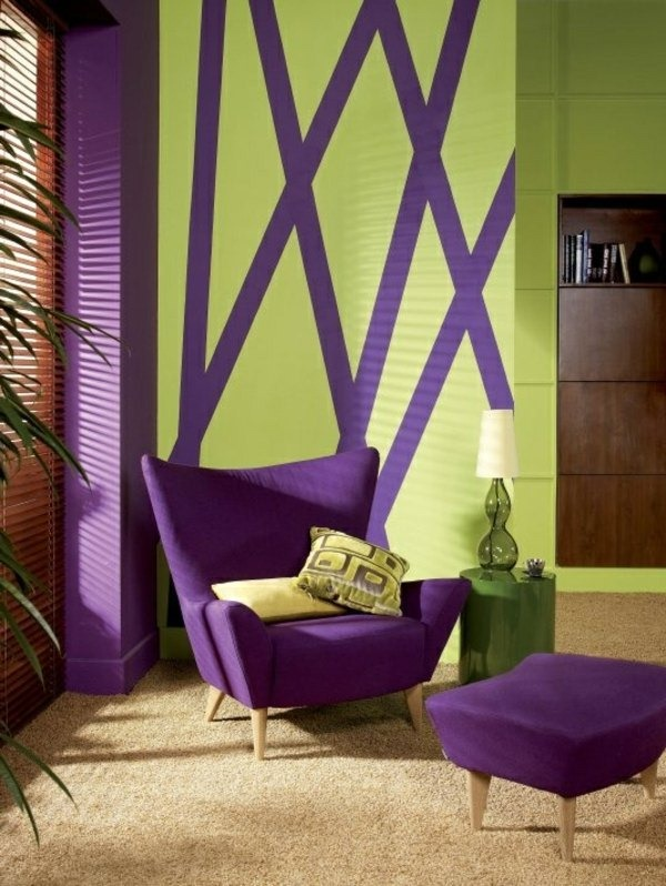 violet furniture violet green wall design