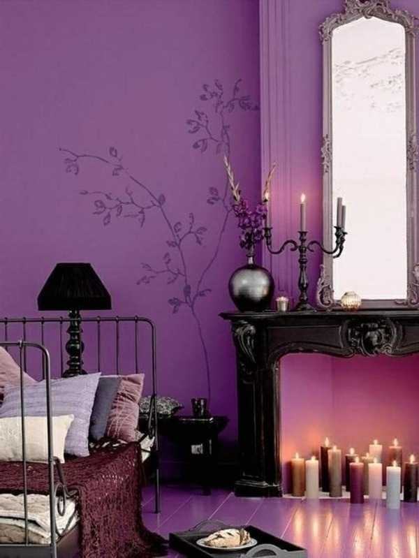wall design proposals purple wall color