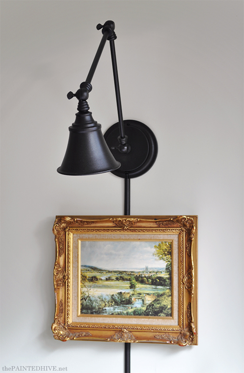 Adjustable Arm Wall Light from a Desk Lamp | The Painted Hive