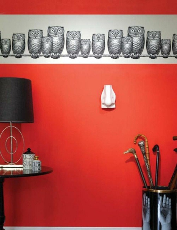 wall wallpaper pattern and image edge theme red owls
