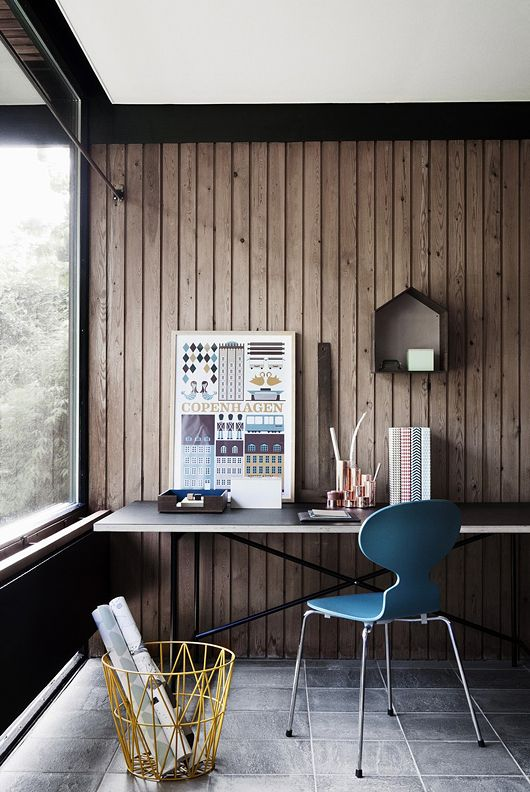 : Warm Modern Workspace With Wood Walls