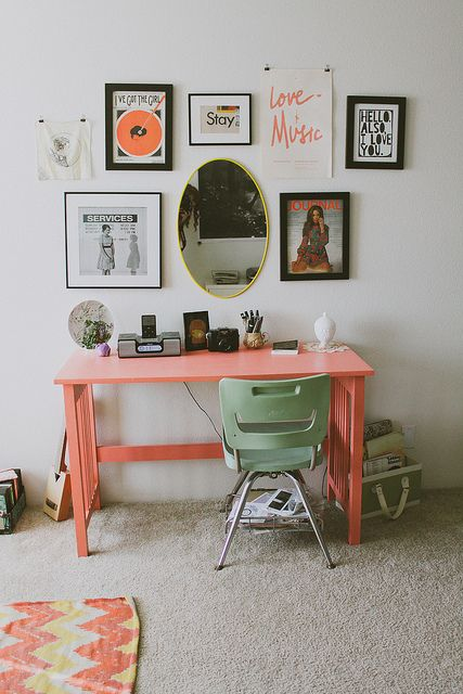 : Workspace With Peachy Pink Desk Funky