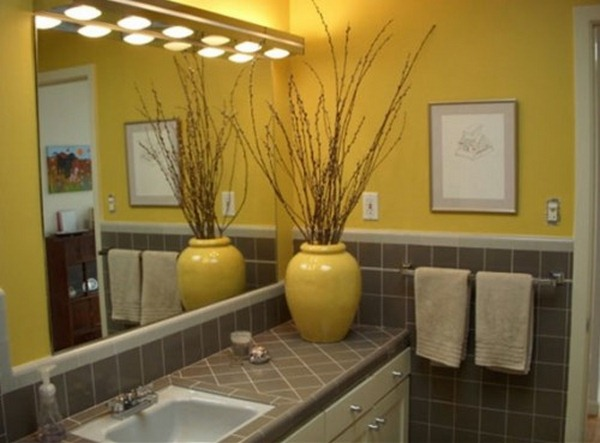 yellow bathroom curtain
