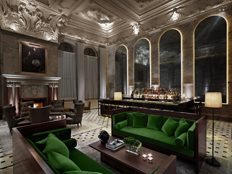 Interior of London Edition Hotel, UK, by Yabu Pushelberg